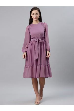 Pluss Women Mauve Solid Fit & Flare Dress