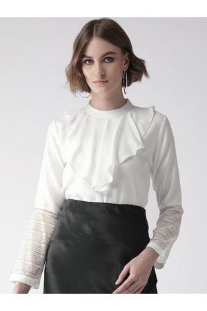 Style Quotient Women White Solid Victorian Top
