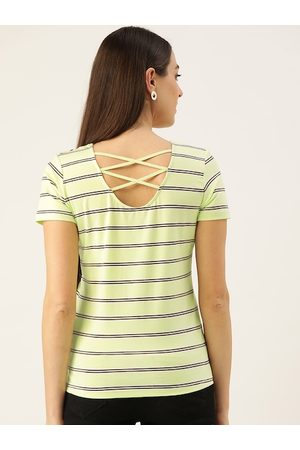 MADAME Women Lime Green & Black Striped Styled Back Top