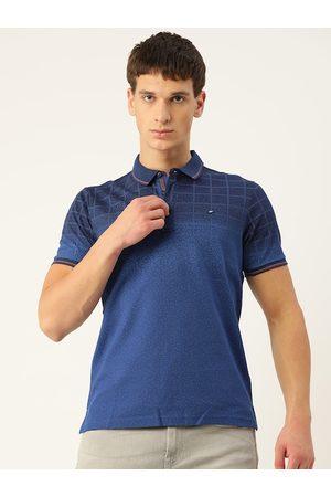 Monte Carlo Men Navy Blue Checked Polo Collar T-shirt