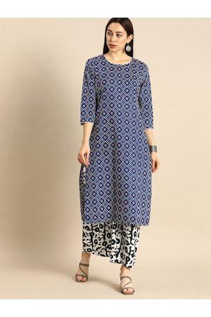 Anouk Women Navy Blue & White Bandhani Printed Kurta