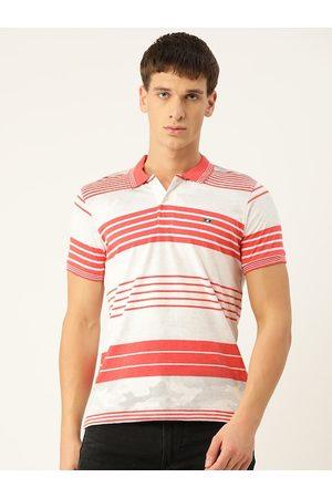 Monte Carlo Men White & Red Striped Polo Collar T-shirt