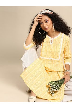 Varanga Women Yellow & White Ethnic Motifs Printed Pure Cotton Kurta