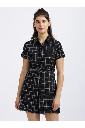 Zink London Women Playsuits - Women Black & White Checked Playsuit