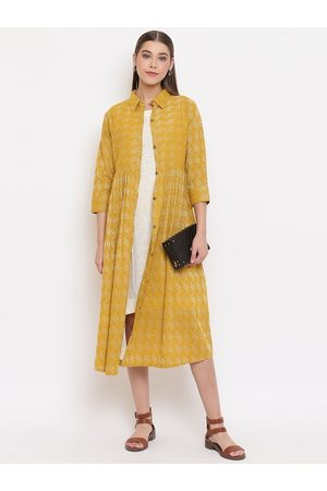Janasya Women Casual Dresses - Women Mustard Printed Shirt Dress
