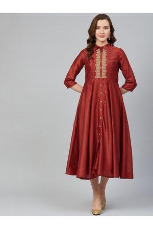 Rangriti Women Rust Brown & Golden Embroidered Detail Shirt Dress