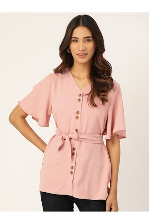 MADAME Women Dusty Pink Solid Flared Sleeves Tie-Up Waist Top