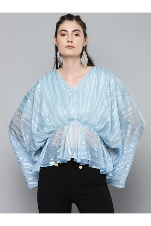 Sassafras Blue & White Striped Kimono Sleeves A-line Top