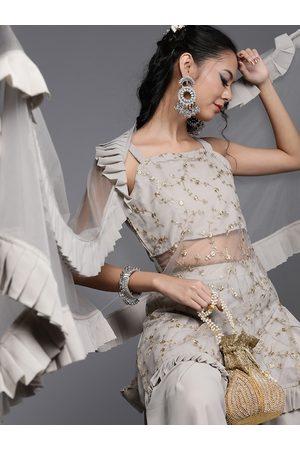 Inddus Women Grey Embroidered Kurta with Sharara & Dupatta