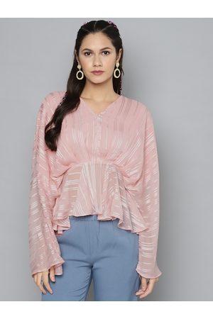 Sassafras Women Tops - Women Pink & White Striped Batwing Sleeves Cinched Waist Top
