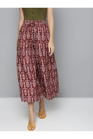 Sassafras Women Maroon & Off-White Printed Flared Trousers