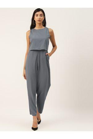 Trend Arrest Women Grey Solid Layered Basic Jumpsuit