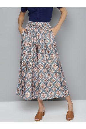 Sassafras Women Beige & Blue Printed Flared Trousers