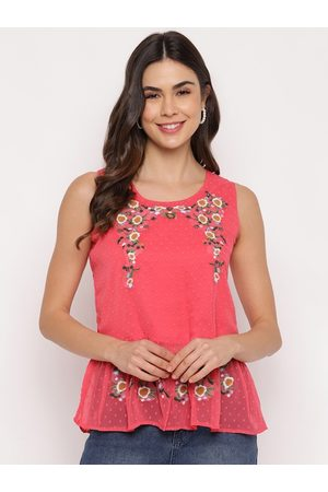 Mayra Women Pink & Off White Floral Embroidered Peplum Top