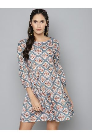 Sassafras Women Blue & Maroon Printed A-Line Tiered Dress