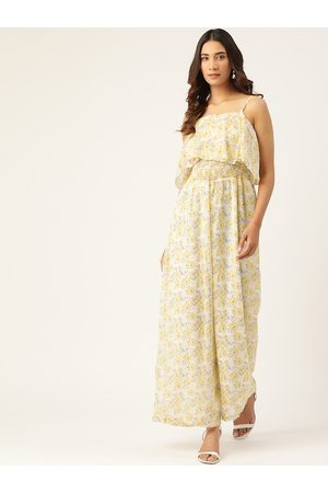 MADAME Women Off-White & Yellow Floral Printed Basic Jumpsuit