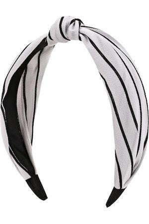 Kazo Women White & Black Striped Knotted Hairband