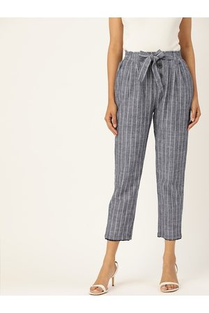 MADAME Women Sustainable Blue & White Pure Cotton Regular Fit Striped Cropped Trousers