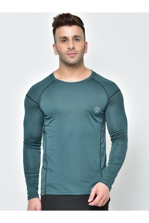 CHKOKKO Men Green Solid Dry Fit Round Neck T-shirt