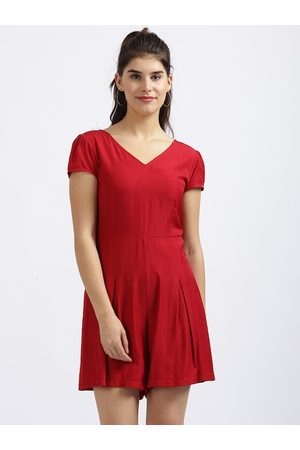Zink London Women Red Solid Playsuit