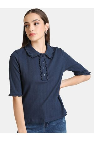 Kazo Women Polo Shirts - Women Blue Solid Polo Collar T-shirt