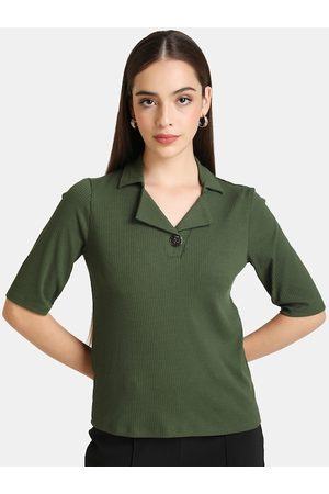 Kazo Women T-shirts - Women Green Solid V-Neck T-shirt