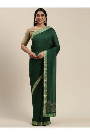 Indian Women Green & Golden Silk Blend Solid Saree