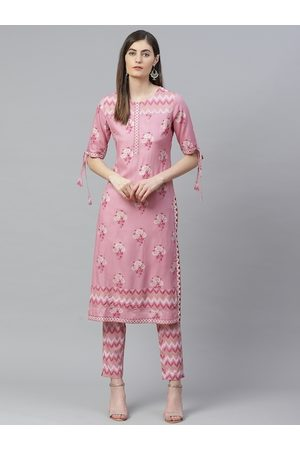 Yash Gallery Women Pink & Golden Printed Kurta with Trousers