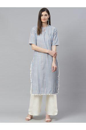 Yash Gallery Women White & Blue Striped Keyhole Neck Kurta