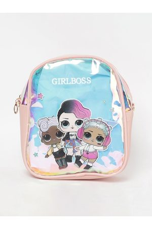 Lifestyle Women Pink & Blue Graphic Backpacks