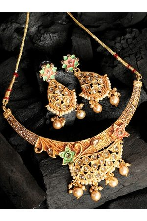 ANIKAS CREATION Gold-Plated Sea Green & Pink Kundan-Studded & White Beaded Enamelled Jewellery Set
