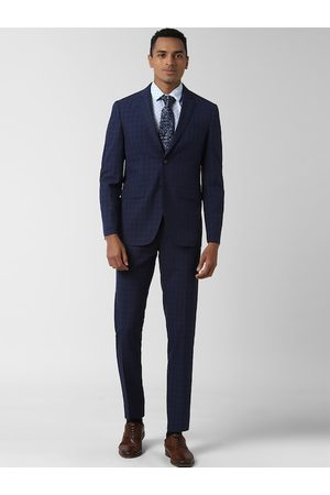 Peter England Elite Men Navy Blue & Black Checked Slim-Fit Single-Breasted Two Piece Formal Suit