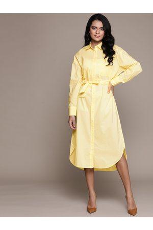 MANGO Women Yellow Pure Cotton Printed Shirt Dress