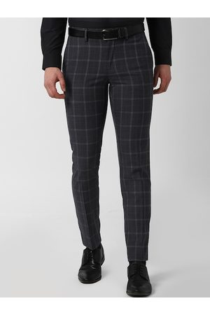 Peter England Elite Men Grey Slim Fit Checked Formal Trousers