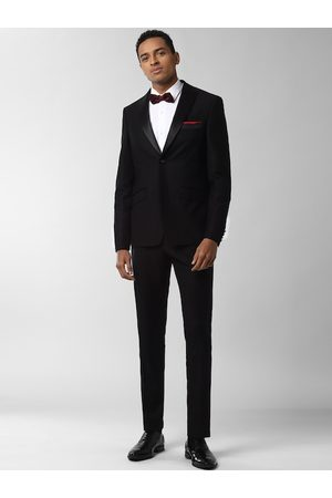 Peter England Elite Men Black Solid Slim-Fit Single-Breasted Two Piece Formal Suit