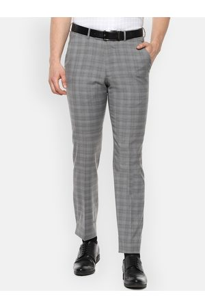 Luxure by Louis Philippe Men Grey Slim Fit Checked Formal Trousers