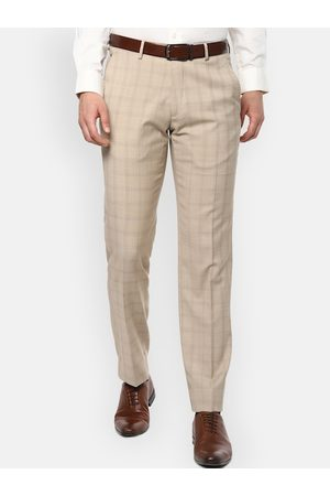 Louis Philippe Men Beige Regular Fit Checked Formal Trousers