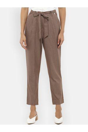 Van Heusen Women Beige Regular Fit Self Design Peg Trousers