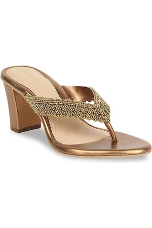 marie claire Women Gold-Toned Embellished Sandals