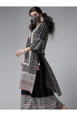Juniper Women Black White Cambric Printed High-Low Kurta Palazzos