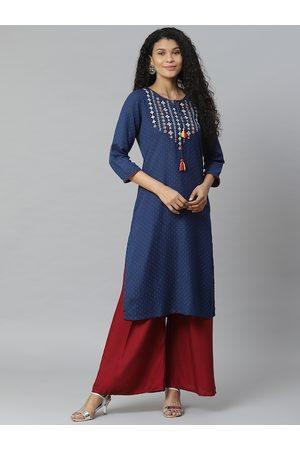 Rangriti Women Navy Blue Woven Design Straight Kurta