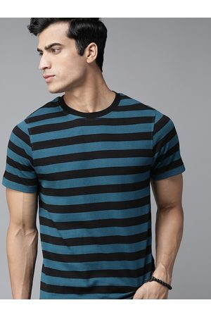 Roadster Men Teal Blue & Black Striped Pure Cotton Round Neck T-shirt