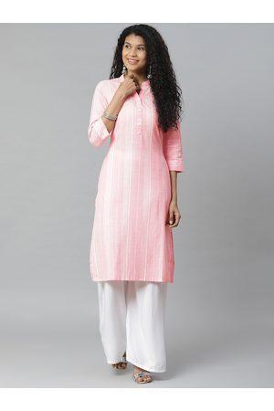 Rangriti Women Pink & White Striped Straight Kurta