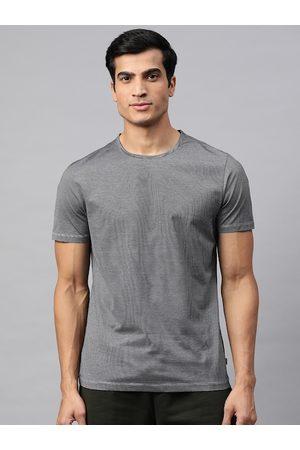 Marks & Spencer Men Black & White Striped Pure Cotton Round Neck T-shirt