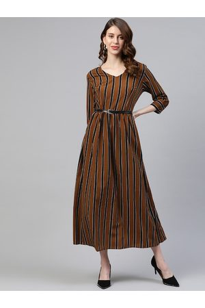 Pluss Women Brown Striped Maxi Dress