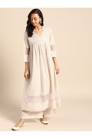 Varanga Women Off-White Striped Pure Cotton Kurta with Palazzos