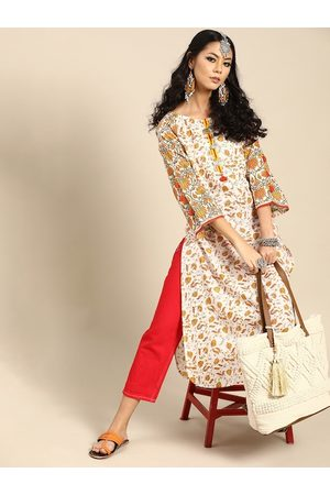 Varanga Women White & Orange Ethnic Motifs Printed Cotton Flared Sleeves Kurta