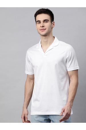 Marks & Spencer Men White Supima Cotton Solid Polo Collar T-shirt