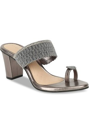 marie claire Women Silver-Toned Embellished Block Heels