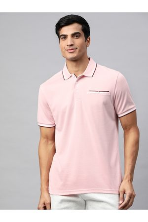 Marks & Spencer Men Pink Solid Polo Collar T-shirt